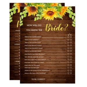 Wood Sunflower Double-Sided Bridal Shower Game Invitation starting at 2.40
