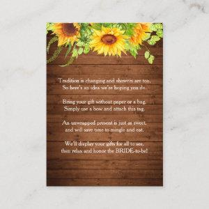 Wood Sunflowers Hop Rustic Chic Gift Bridal Shower Enclosure Card starting at 0.30