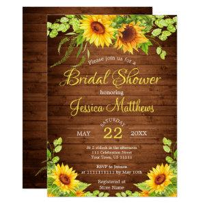 Wood Sunflowers Rustic  Bridal Shower Invitation starting at 2.15