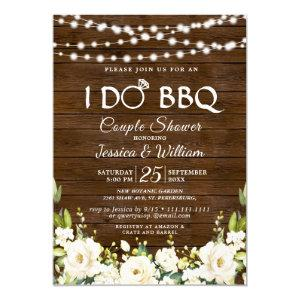 Wood & White Roses Floral I Do BBQ Couple Shower Invitation starting at 2.35