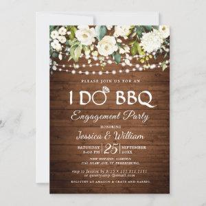 Wood White Roses Floral I Do BBQ Engagement Party Invitation starting at 2.35