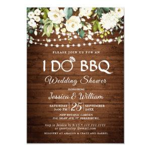 Wood & White Roses Floral I Do BBQ Wedding Shower Invitation starting at 2.35
