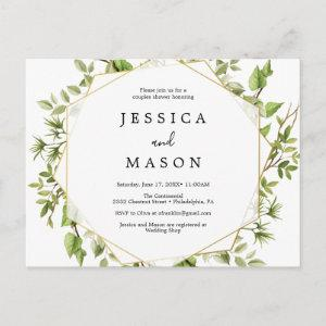 Woodland Greenery Couples Shower Invitation Postcard starting at 1.10