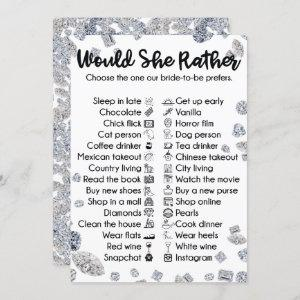 Would She rather Bridal Shower Party Game starting at 2.55