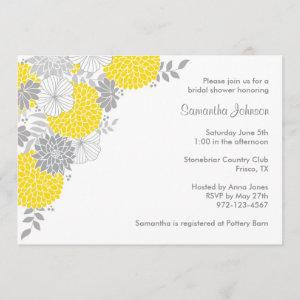 Yellow and Gray Floral Bridal Shower Invitations starting at 2.66