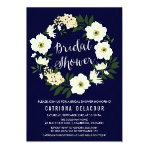 Yellow Anemone Floral Wreath Navy Bridal Shower Invitation starting at 2.40