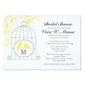 Yellow Birdcage With Love Birds Bridal Shower Invitation starting at 3.76