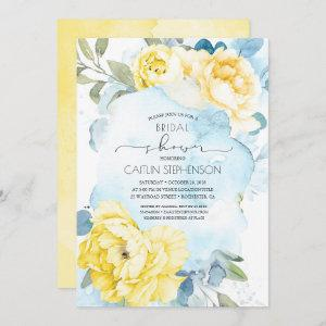 Yellow Flowers Dusty Blue Greenery Bridal Shower Invitation starting at 2.86