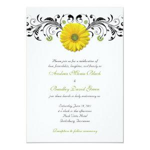 Yellow Gerber Daisy Floral Wedding Invitation starting at 2.66