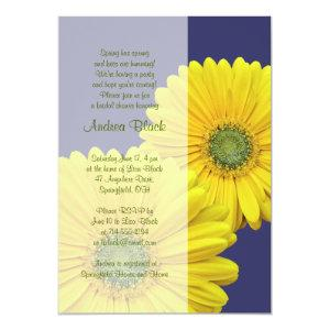 Yellow Gerbera Daisy Navy Bridal Shower Invitation starting at 2.66
