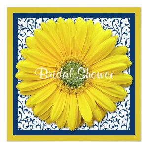 Yellow Navy Gerbera Daisy Bridal Shower Invitation starting at 2.51