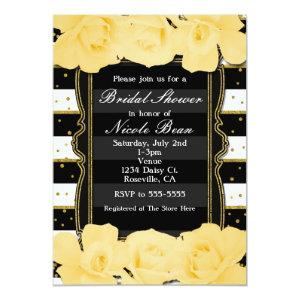 Yellow Roses Black Stripes & Gold Bridal Shower Invitation starting at 2.51