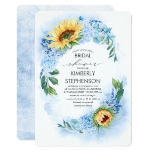 Yellow Sunflower and Blue Hydrangea Bridal Shower Invitation starting at 2.71