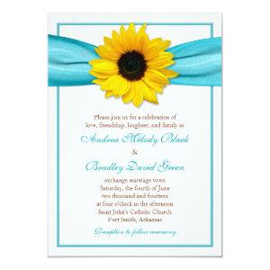 Yellow Sunflower Aqua Ribbon Wedding Invitation starting at 2.66