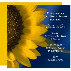 Yellow Sunflower on Blue Bridal Shower Invitation starting at 2.45