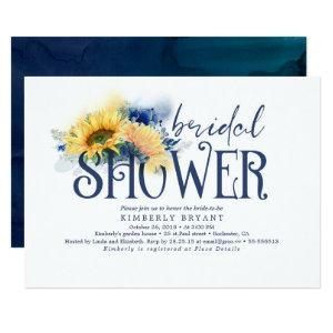Yellow Sunflowers Elegant Navy Blue Bridal Shower Invitation starting at 2.26
