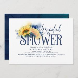 Yellow Sunflowers Elegant Navy Blue Bridal Shower Invitation starting at 2.51