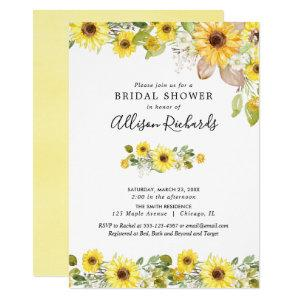 Yellow sunflowers watercolor bridal shower invitation starting at 2.55